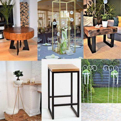Stoły drewniane, metalowe stojaki